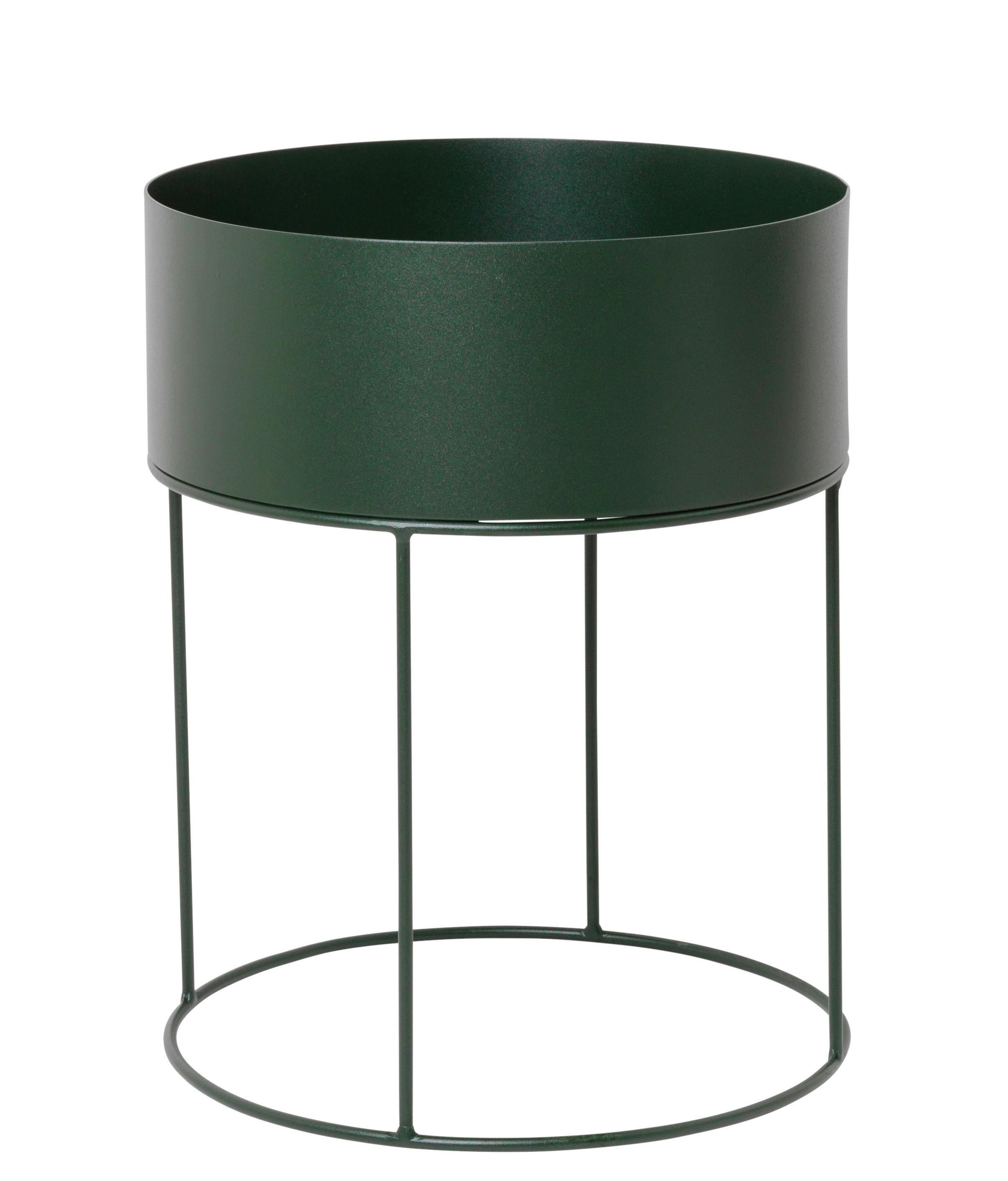 Interni - Vasi e Piante - Fioriera Plant Box Round - / Ø 40 x H 50 cm di Ferm Living - Verde scuro - Metallo rivestito in resina epossidica