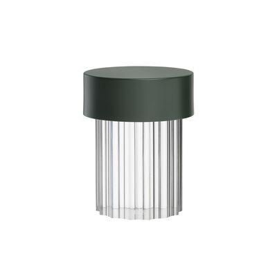 Luminaire - Lampes de table - Lampe sans fil Last Order / OUTDOOR - Ø 10 x H 14 cm - Flos - Strié / Vert & transparent - Métal, Verre