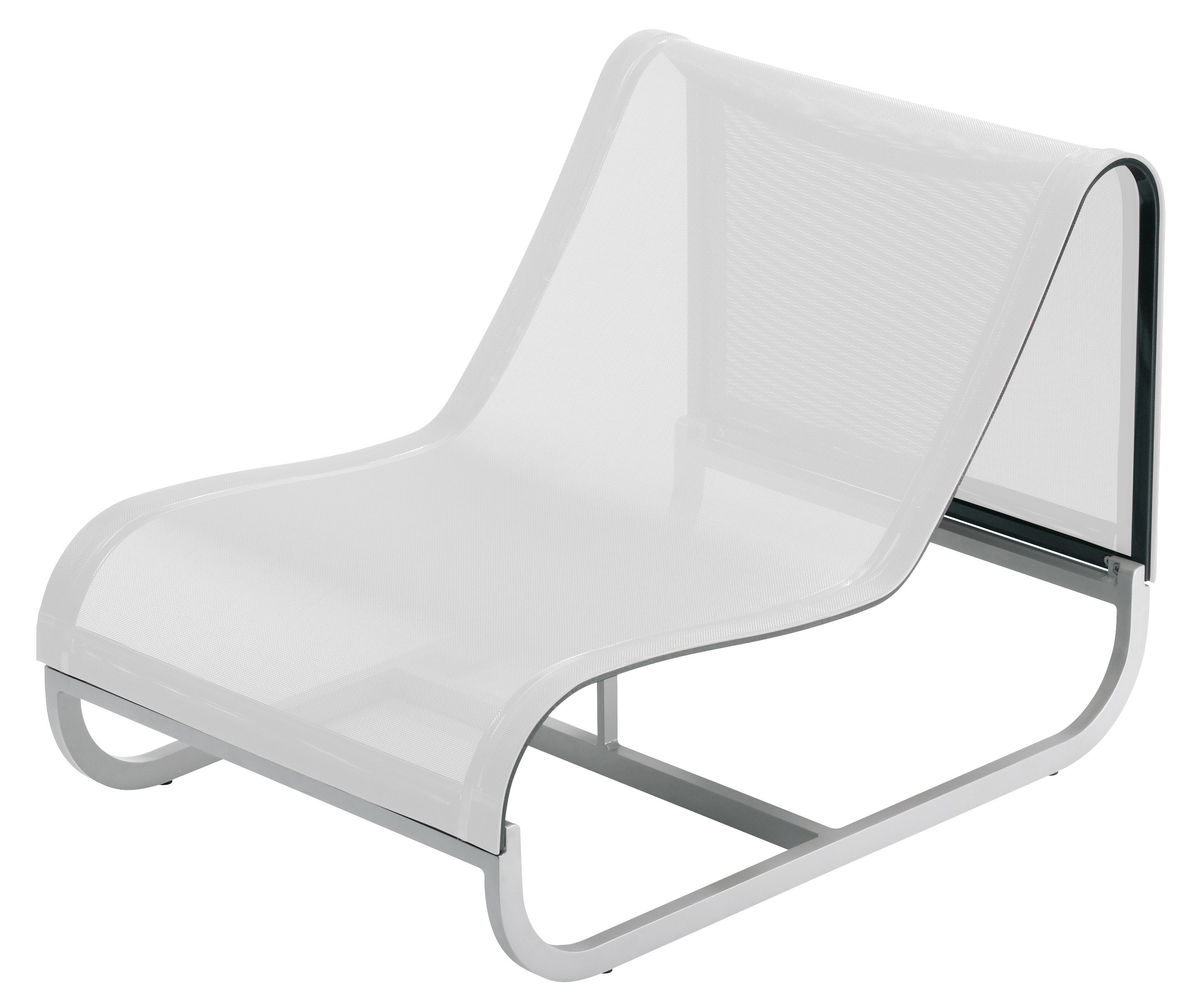Outdoor - Gartensessel - Tandem Lounge Sessel mittleres Modul - EGO Paris - Bezug weiß - Batyline® Bespannung, lackiertes Aluminium