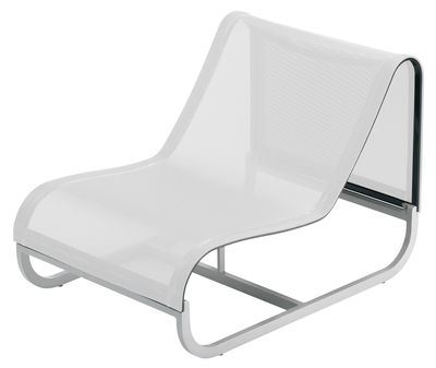 Outdoor - Armchairs & Rocking Chairs - Tandem Low armchair - Central unit by EGO Paris - White fabric - Batyline cloth, Lacquered aluminium