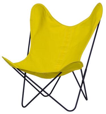 Arredamento - Poltrone design  - Poltrona AA Butterfly OUTDOOR di AA-New Design - Struttura nera/tela gialla oro - Acciaio termolaccato, Cotone trattato per uso esterno