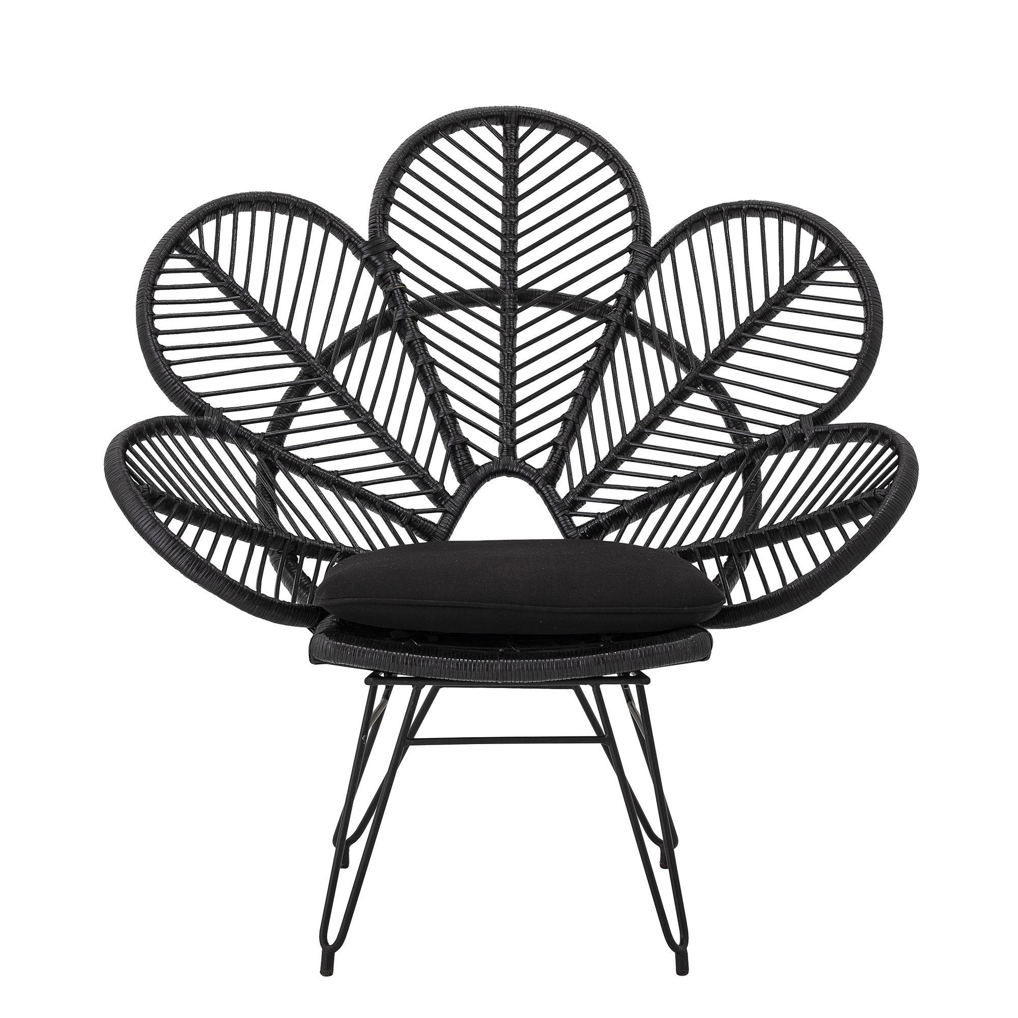 Arredamento - Poltrone design  - Poltrona Shana - / Rattan - con cuscino di seduta di Bloomingville - Nero - metallo verniciato, Midollino, Tessuto