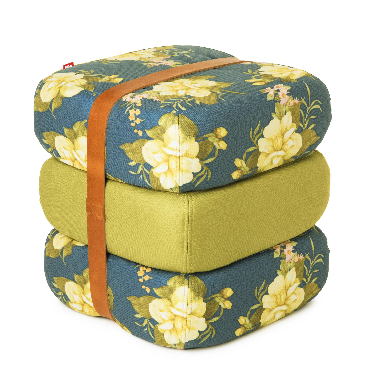 Mobilier - Poufs - Pouf Baboesjka / 3 coussins de sol & sangle cuir - Fatboy - Roses sauvages jaunes / Bleu foncé, vert - Cuir, Mousse, Polyester