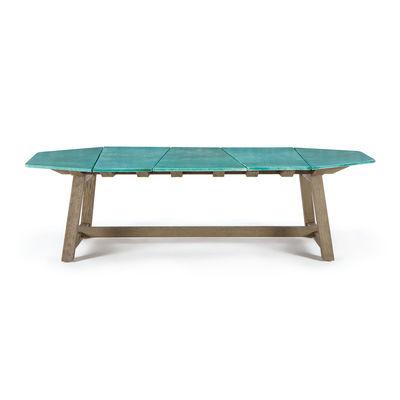 Outdoor - Garden Tables - Rafael Octogonal Rectangular table - / 264 x 154 cm - Lava stone & sanded teak - 10 people by Ethimo - Sanded teak / Emerald green - FSC Sanded teak, Glazed lava stone