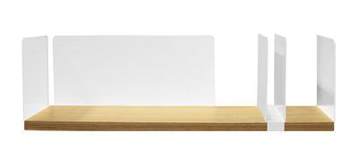 Möbel - Regale und Bücherregale - Portable Atelier Regal / Moleskine - L 60 cm - mit Dokumentenhalter - Driade - Holz & weiß / verschiebbarer Dokumentenhalter weiß - Eichenholzfurnier, lackierter Stahl