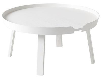 Table basse Around Large / Ø 72 x H 37,5 cm - Muuto blanc en bois