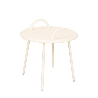 Arredamento - Tavolini  - Tavolino Swim Lounge - / 2 maniglie - Ø 51 x H 48,5 cm di Bibelo - Beige - Acciaio laccato epossidico