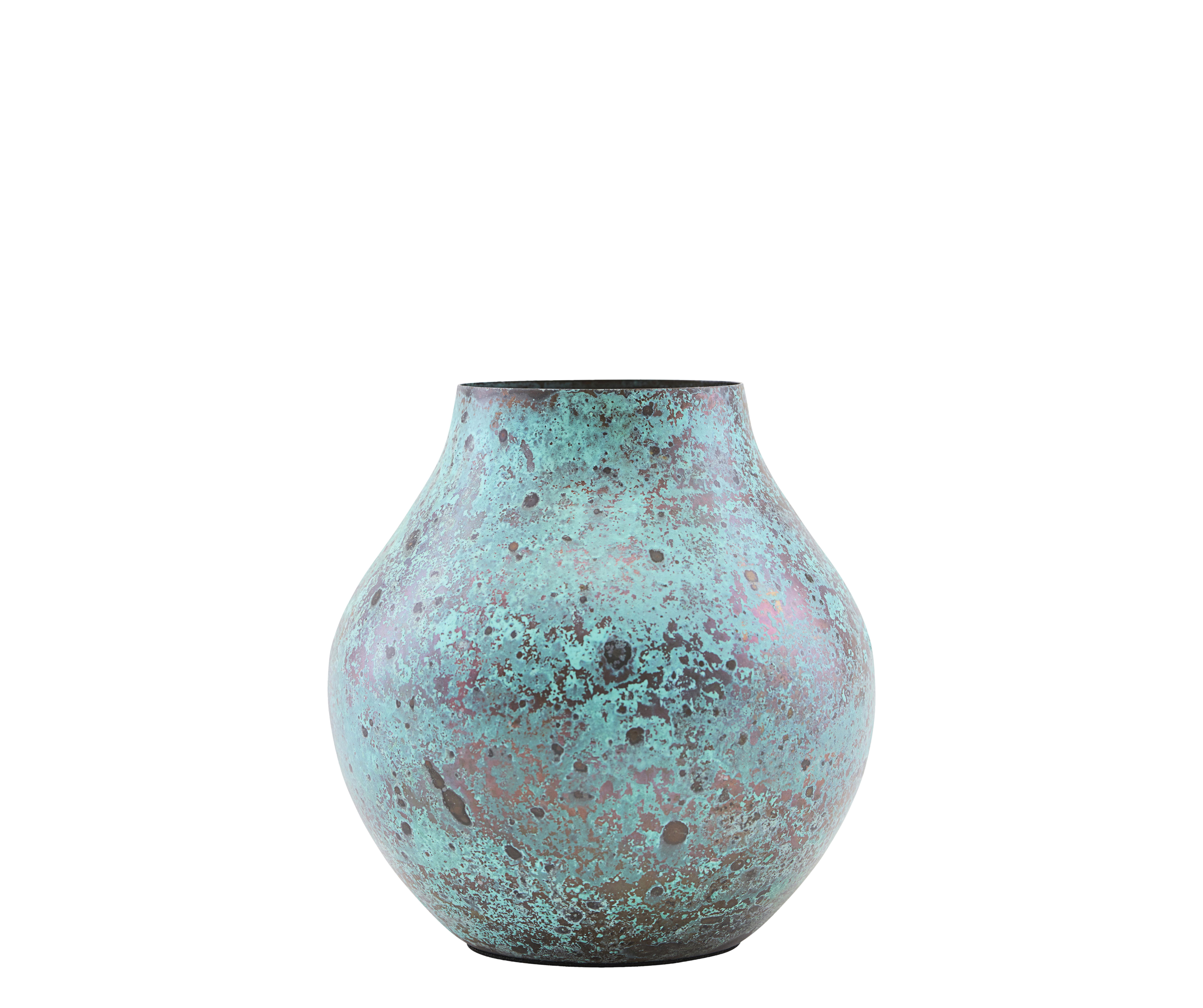 Déco - Pots et plantes - Vase Kojo / Ø 6 x H 12 cm - Acier - House Doctor - Turquoise oxydé - Acier