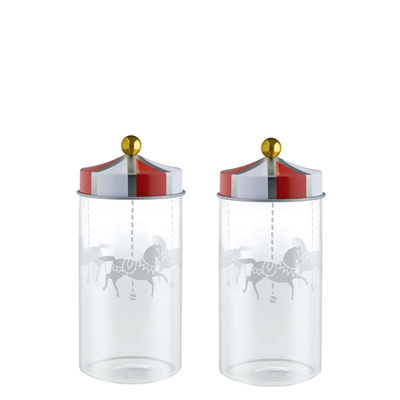 Kitchenware - Kitchen Storage Jars - Circus Airtight jar - / Set of 2 - 14 cl - For spices by Alessi - Red & white - Tinplate, Verre sérigraphié
