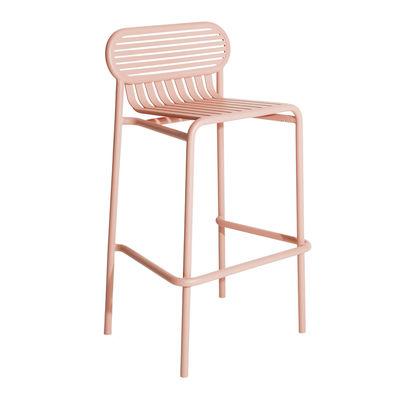 Furniture - Bar Stools - Week-End Bar stool - / Aluminium - H 80 cm by Petite Friture - Blush pink - Powder coated epoxy aluminium