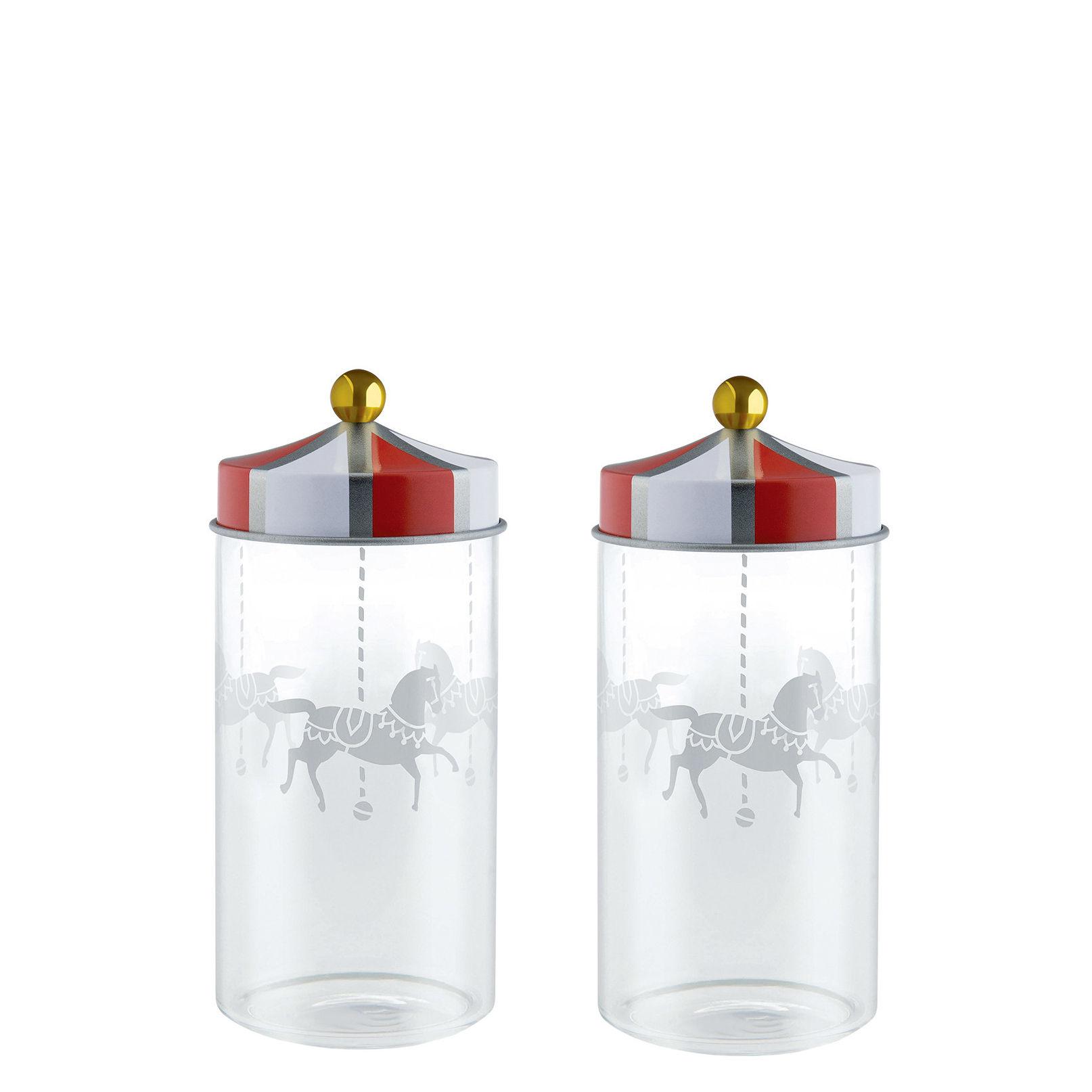 Cuisine - Boîtes, pots et bocaux - Bocal hermétique Circus / Set de 2 - 14 cl - Pour épices - Alessi - Rouge & blanc - Fer blanc, Verre sérigraphié