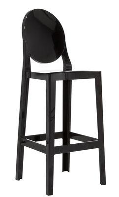 Chaise de bar One more / H 65cm - Plastique - Kartell noir en matière plastique