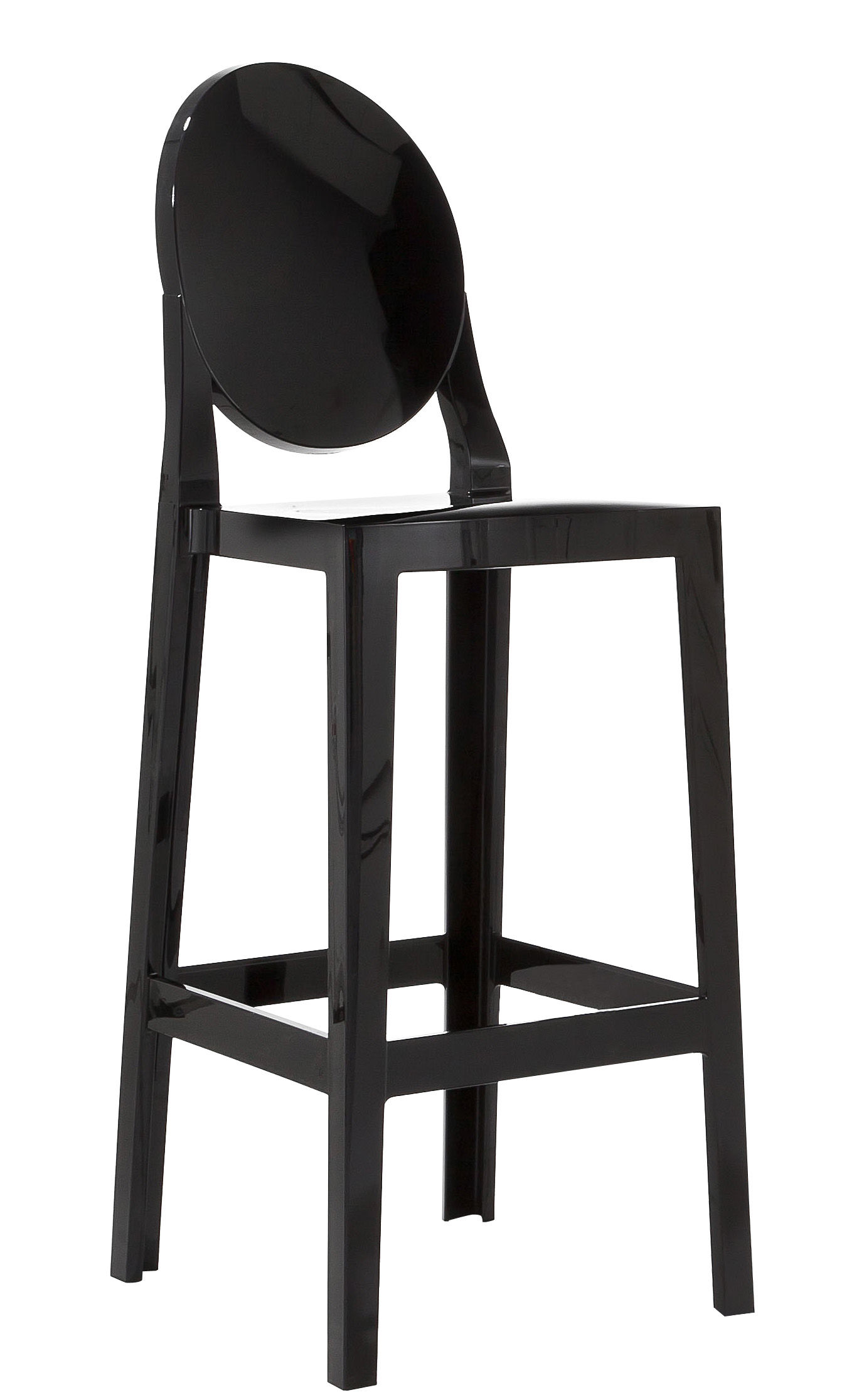 chaise de bar one more h 65cm plastique noir kartell. Black Bedroom Furniture Sets. Home Design Ideas