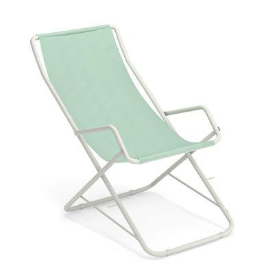 Outdoor - Chaises longues et hamacs - Chaise longue Bahama / Pliable - Emu - Citronnelle / Structure blanche - Acier verni, Tissu technique