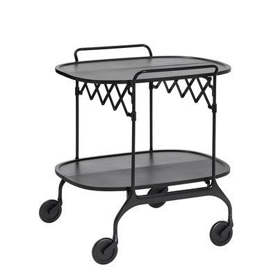 Mobilier - Compléments d'ameublement - Desserte Gastone / Pliable - 68 x 62 cm / Version mate - Kartell - Noir mat / Structure noire - Acier peint, Nylon chagé de fibre de verre