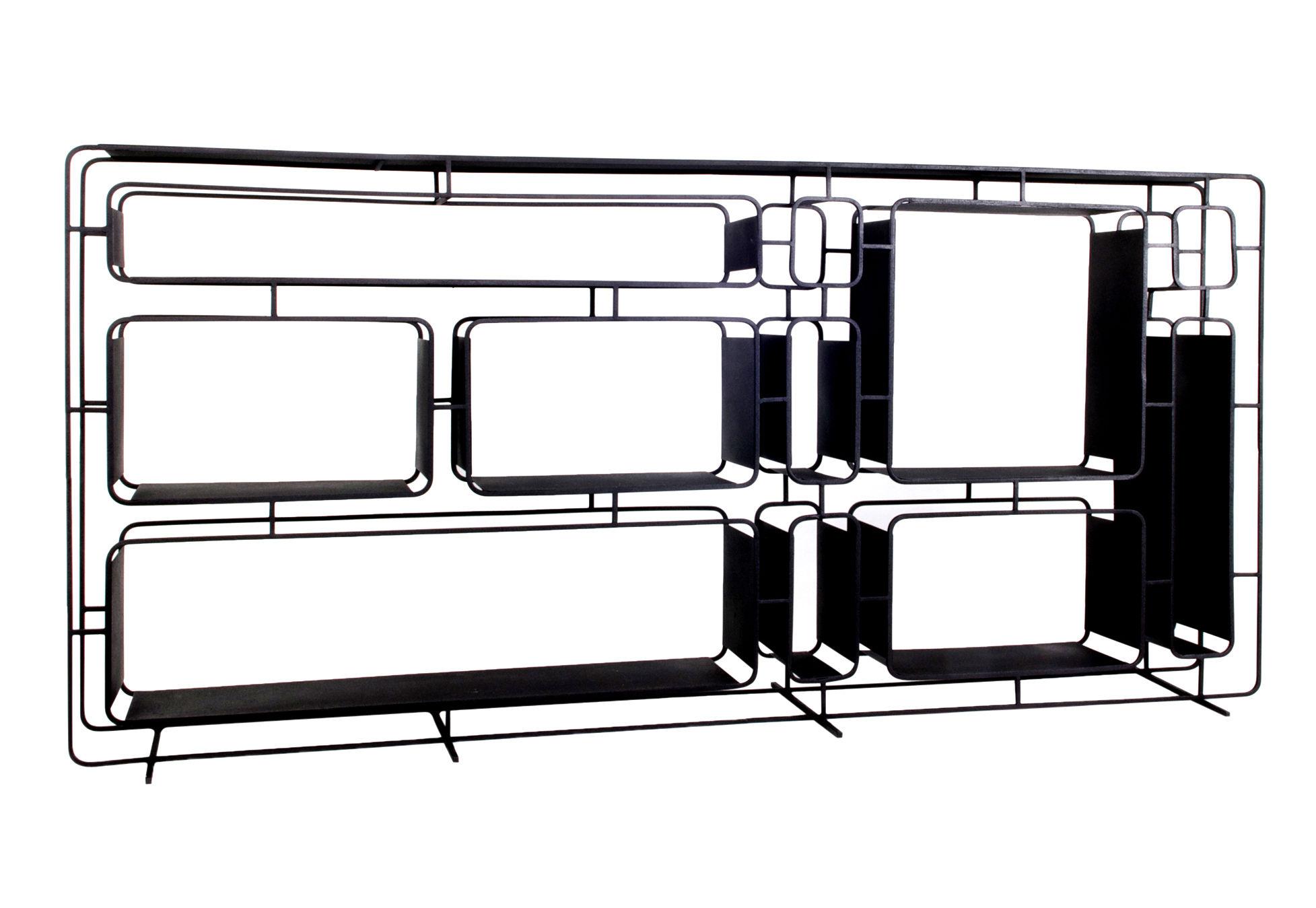 Mobilier - Etagères & bibliothèques - Etagère Project L. / Métal - L 165 x H 78 cm - XL Boom - Noir - Fer peint