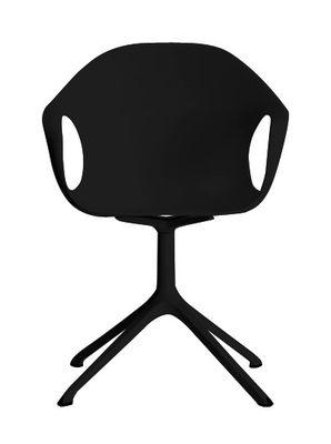 Mobilier - Chaises, fauteuils de salle à manger - Fauteuil Elephant Trestle / Coque plastique & pied métal - Kristalia - Noir - Polyuréthane laqué
