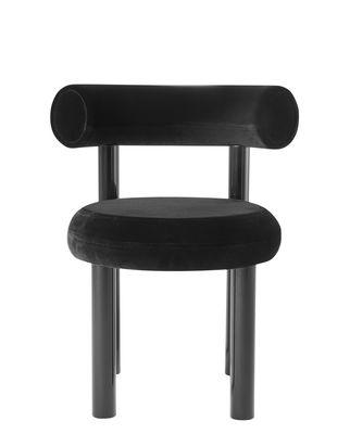 Möbel - Stühle  - Fat Gepolsterter Stuhl / Velours - Tom Dixon - Schwarz - Formschaum, lackierter Stahl, Velours