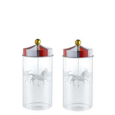 Küche - Dosen, Boxen und Gläser - Circus hermetisch verschließbares Glas / 2er-Set - 14 cl - Für Gewürze - Alessi - Rot & weiß - Verre sérigraphié, Weißblech
