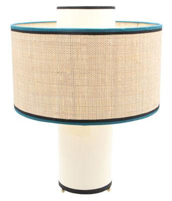 Illuminazione - Lampade da tavolo - Lampada da tavolo Bianca / Cotone & tessuto in fibre di rafia - H 47 cm - Maison Sarah Lavoine - Ecru e tessuto in fibre di rafia / Bordino nero & blu - Cotone, Metallo, Rabane