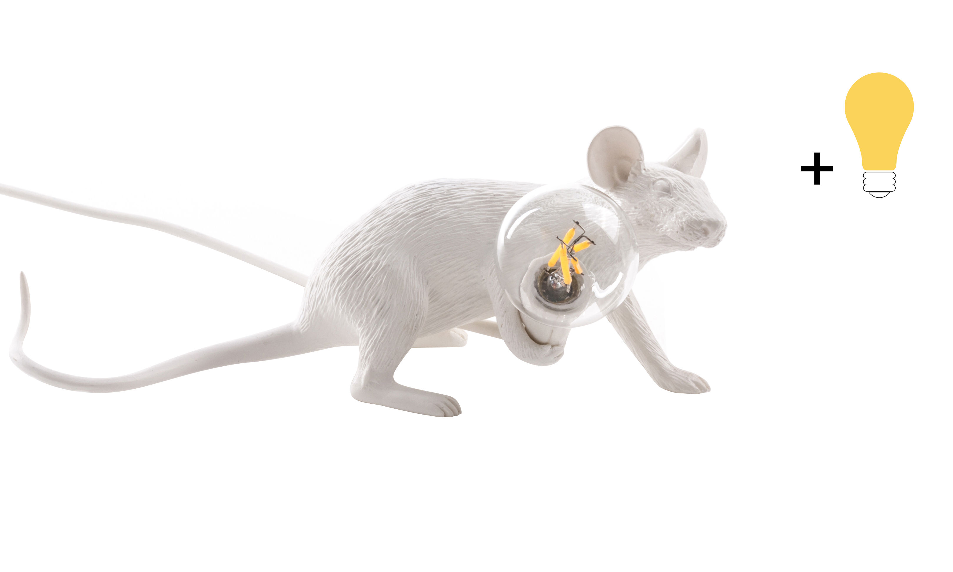 Interni - Per bambini - Lampada da tavolo Mouse Lie Down #3 - / Topo sdraiato - Esclusiva di Seletti - Topo allungato / Bianco / Lampadina colorata - Resina