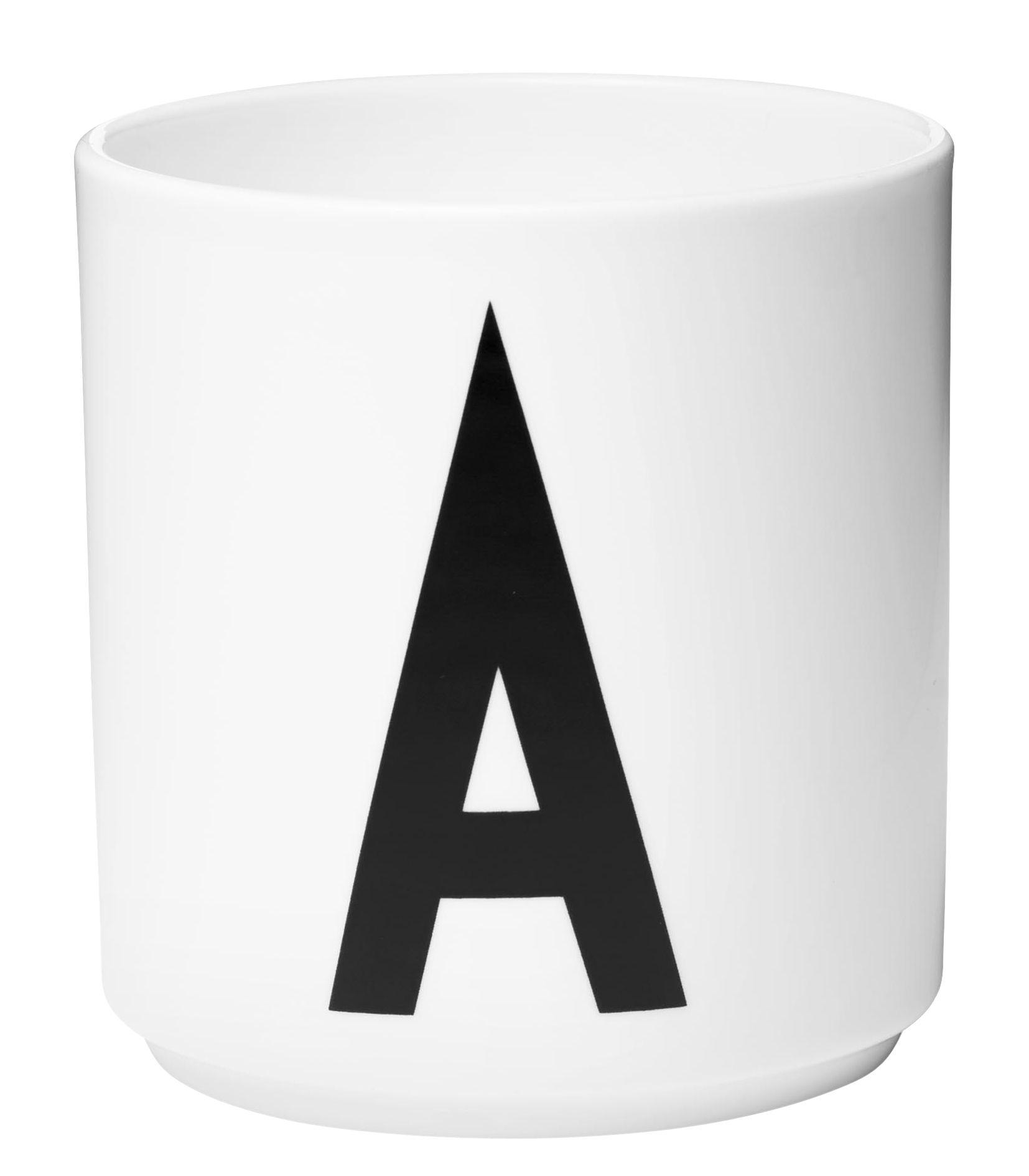 Arts de la table - Tasses et mugs - Mug Arne Jacobsen / Porcelaine - Lettre A - Design Letters - Blanc / Lettre A - Porcelaine de Chine