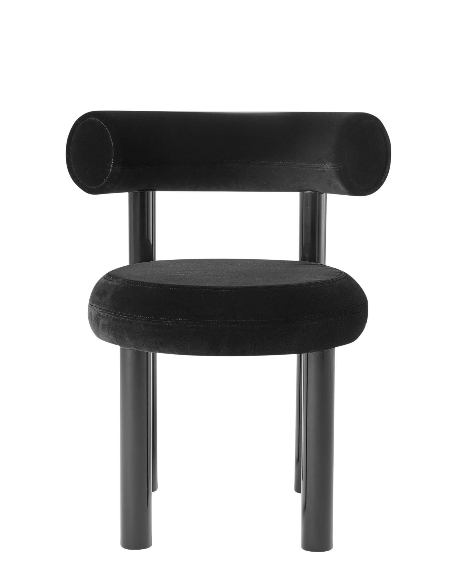 Furniture - Chairs - Fat Padded chair - / Velvet by Tom Dixon - Black - Lacquered steel, Moulded foam, Velvet