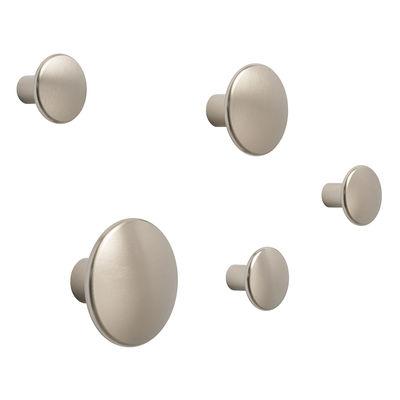 Mobilier - Portemanteaux, patères & portants - Patère The Dots Métal / Set de 5 - Muuto - Taupe - Acier