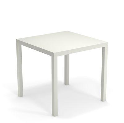 Outdoor - Tische - Nova quadratischer Tisch / Metall - 80 x 80 cm - Emu - Weiß - gefirnister Stahl