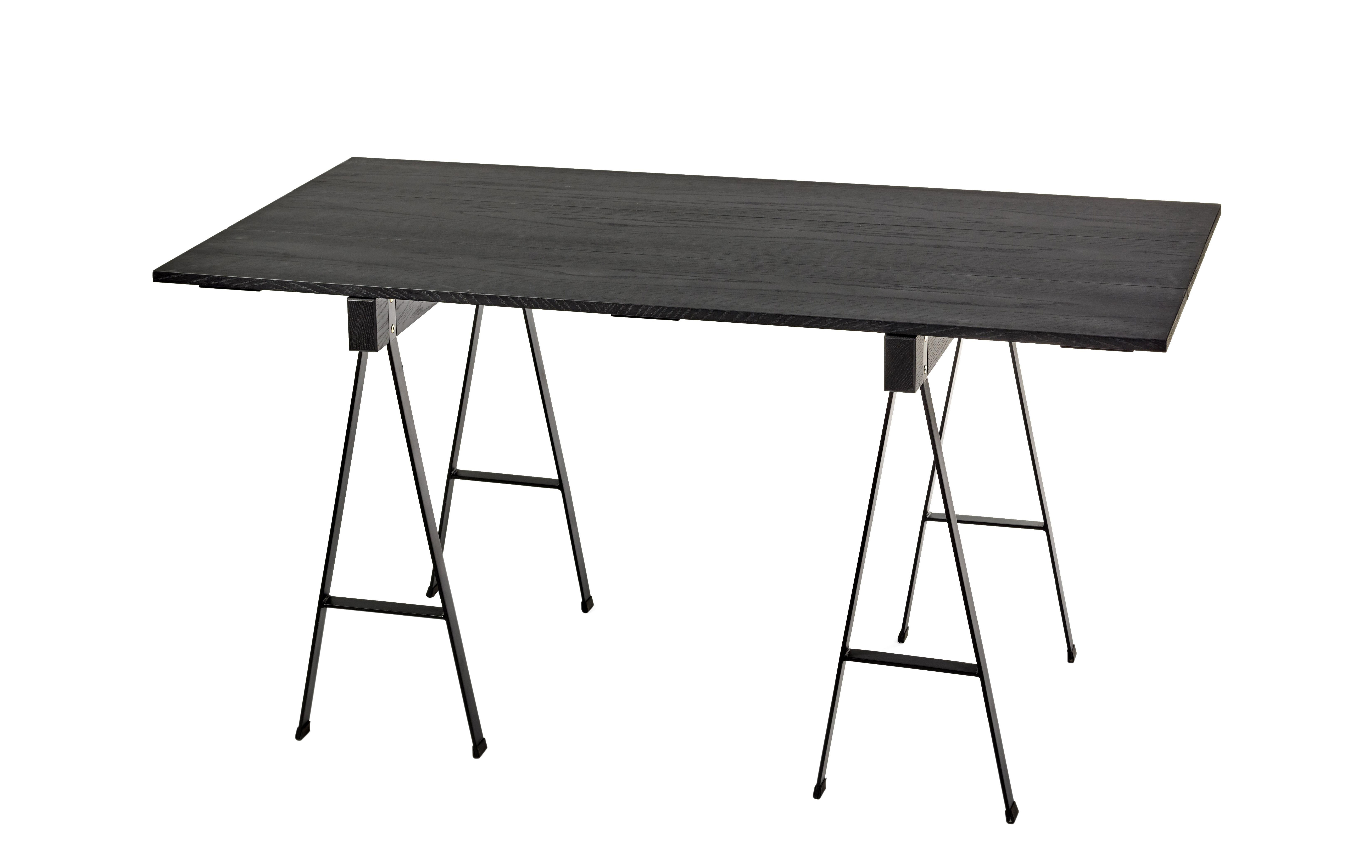 Furniture - Dining Tables - Studio Simple Rectangular table - / with trestles - 150 x 75 cm by Serax - Black - Metal, Oak