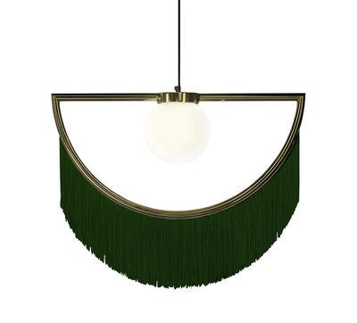 Image of Sospensione Wink - / Frangia - L 60 cm di Houtique - Verde/Oro - Metallo/Tessuto