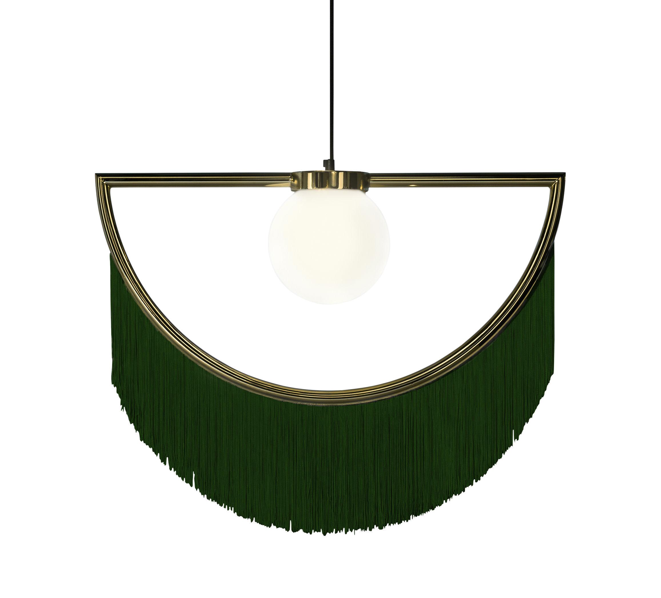 Illuminazione - Lampadari - Sospensione Wink - / Frangia - L 60 cm di Houtique - Verde / Oro - Acciaio, Acrilico, Vetro opalino