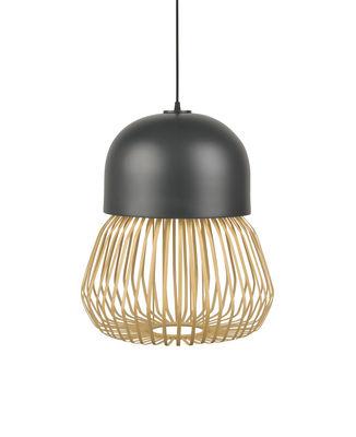 Luminaire - Suspensions - Suspension Anemos Medium / Ø 39 x H 47 cm - Bambou & céramique - Forestier - Medium / Anthracite & naturel - Bambou, Céramique émaillée