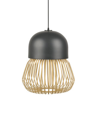 Suspension Anemos Medium / Ø 39 x H 47 cm - Bambou & céramique - Forestier anthracite,bambou naturel en céramique