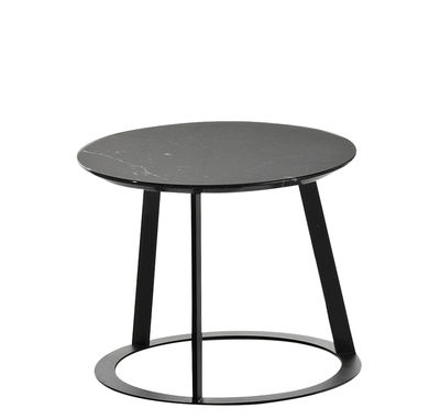 Mobilier - Tables basses - Table basse Albino / Ø 41 - Marbre - Horm - Marbre noir / Pied noir - Marbre Marquina, Métal laqué