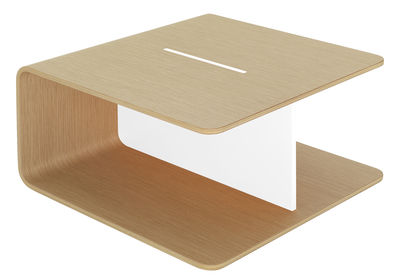 Table basse Keel / 60 x 60 cm - De Padova blanc,bois clair en bois