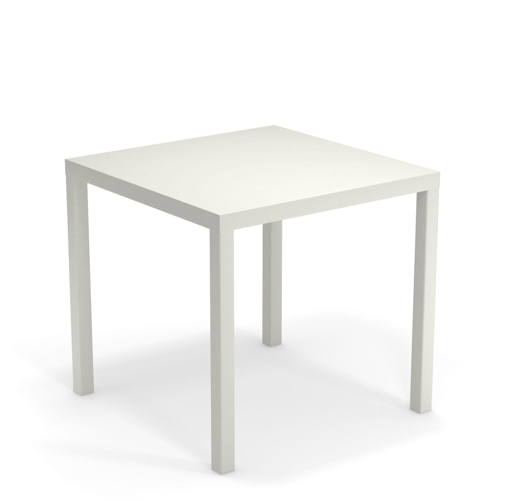 Outdoor - Tables de jardin - Table carrée Nova / Métal - 80 x 80 cm - Emu - Blanc - Acier verni