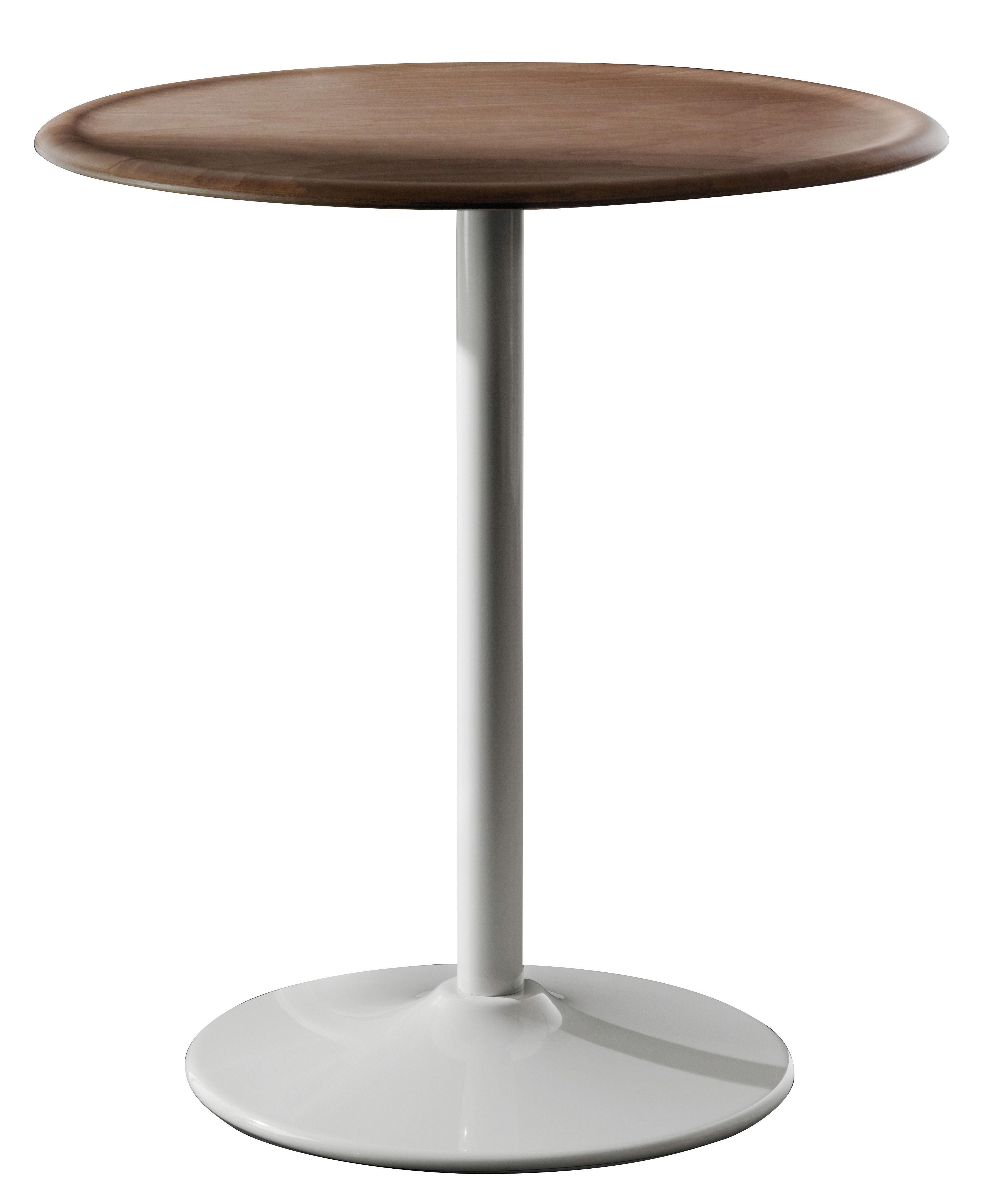 Outdoor - Tables de jardin - Table ronde Pipe / Ø 66 cm - Magis - Blanc / Hêtre naturel - Acier, Multiplis de hêtre