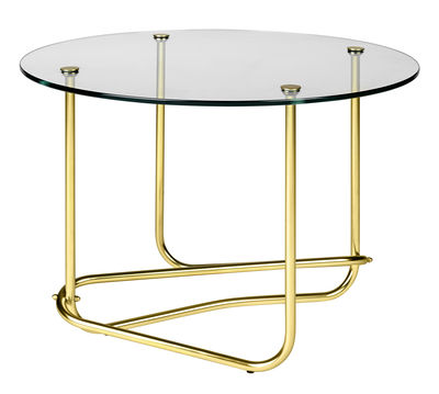 Arredamento - Tavolini  - Tavolino Lounge Table - / Matégot - Ø 41 x H 58 cm di Gubi - Piano trasparente / Piede ottone - Ottone, Vetro