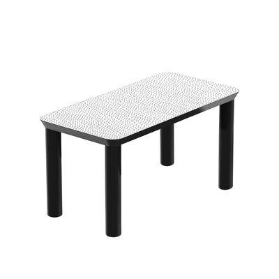 Arredamento - Tavolini  - Tavolino Spotty - / 80 x 40 x H 40 cm di Zanotta - Bianco / Pois neri - Faggio laccato, MDF placcato in lamina serigrafata