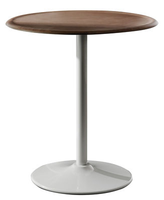Outdoor - Tavoli  - tavolo da giardino Pipe - Ø 66 cm di Magis - Bianco / Faggio naturale - Acciaio, Multistrato di faggio