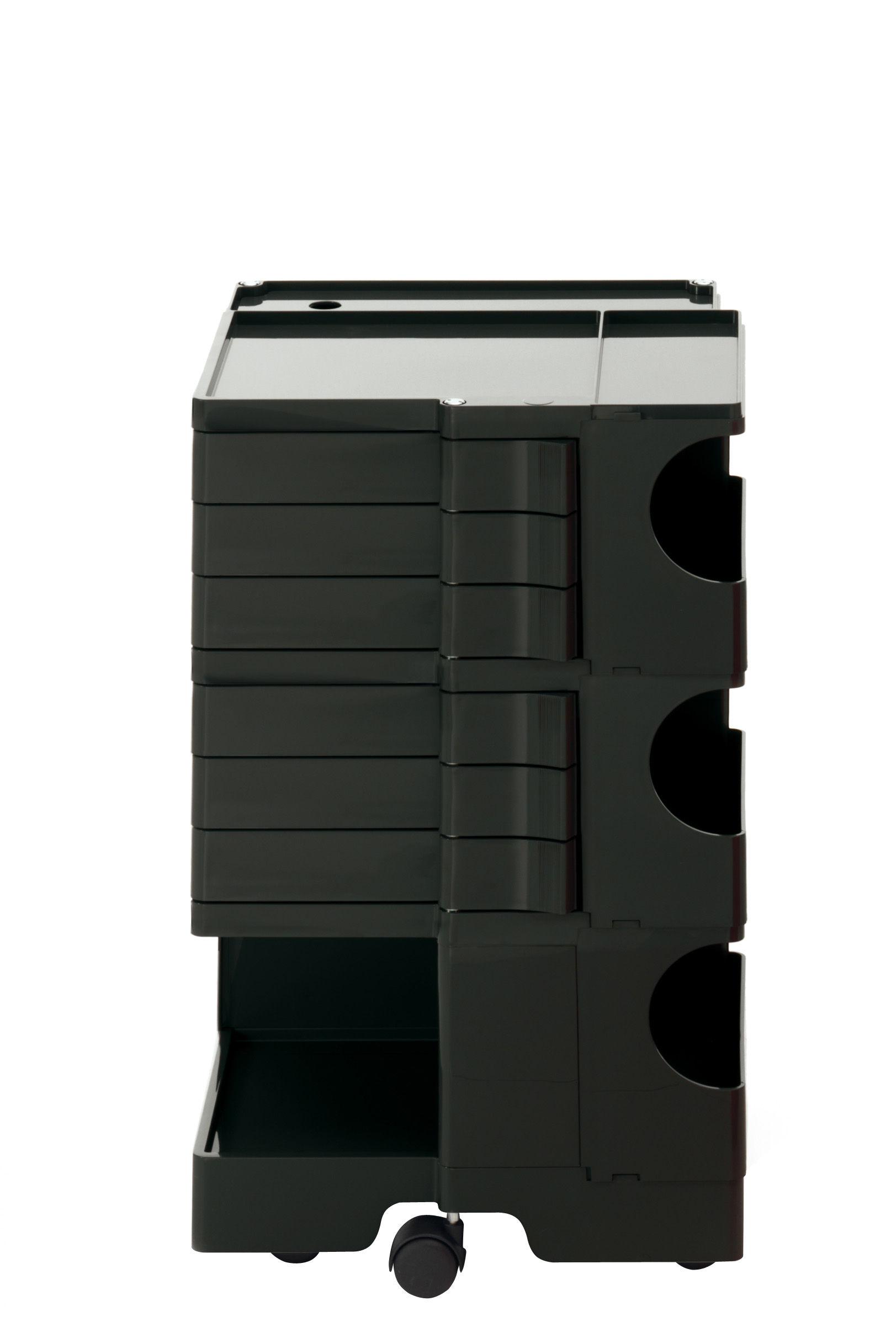 Möbel - Beistell-Möbel - Boby Ablage / H 73 cm - 6 Schubladen - B-LINE - Schwarz - ABS