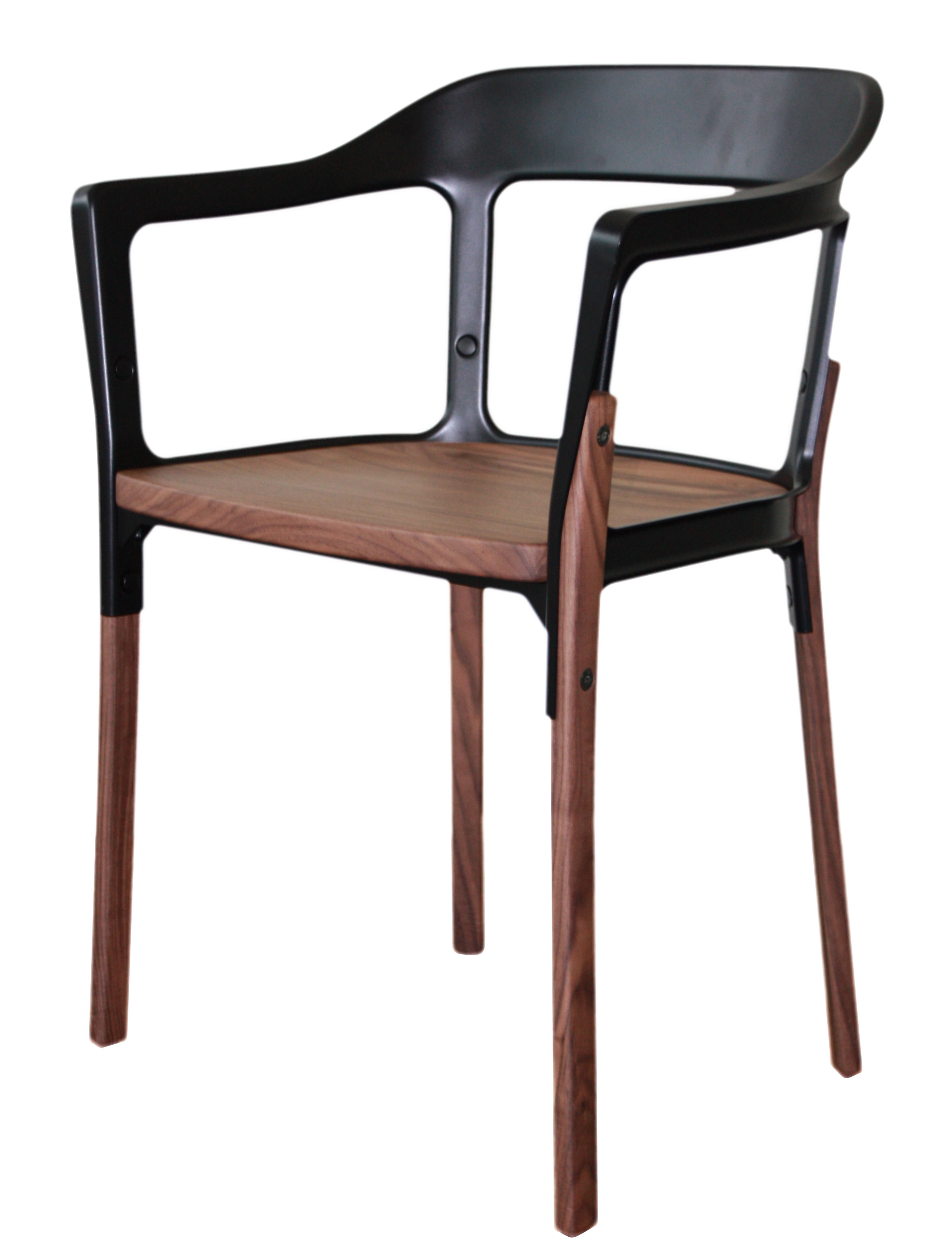 Armchair Steelwood By Magis Black Natural Wood Made In