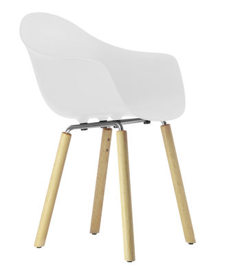 Furniture - Chairs - TA Armchair - Wood legs by Toou - White / Natural wood legs - Chromed metal, Natural oak, Polypropylene