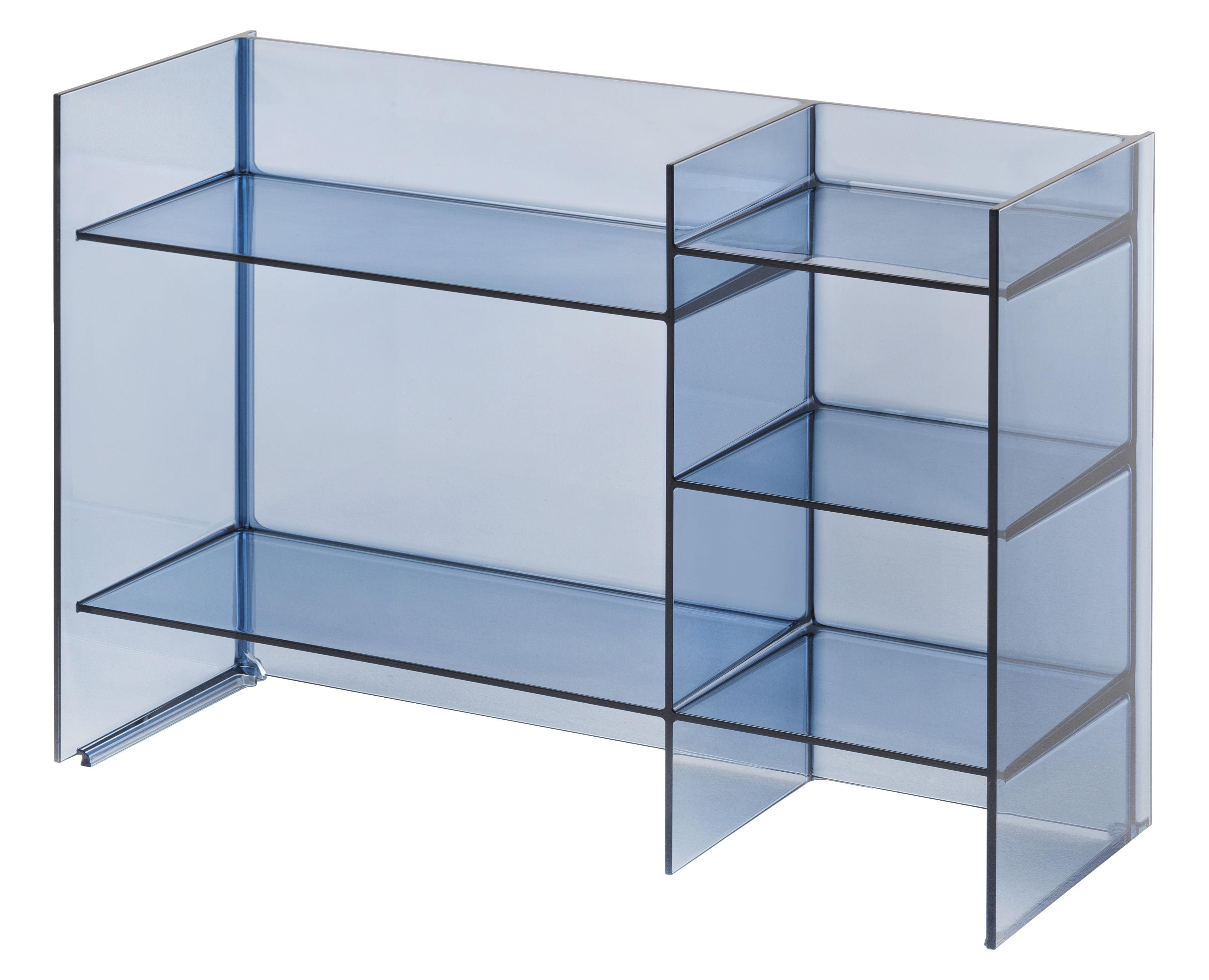 Möbel - Regale und Bücherregale - Sound-Rack Aufbewahrungsmöbel / L 75 cm x H 53 cm - Kartell - Nachtblau - PMMA