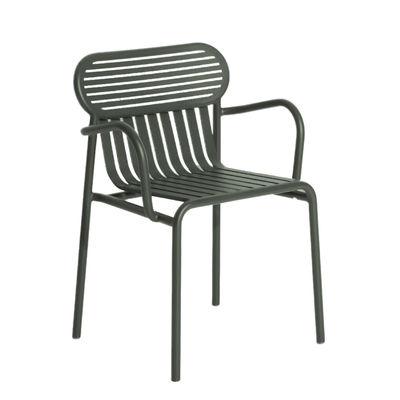 Furniture - Chairs - Week-End Bridge armchair - / Stackable - Aluminium by Petite Friture - Bottle green - Powder coated epoxy aluminium