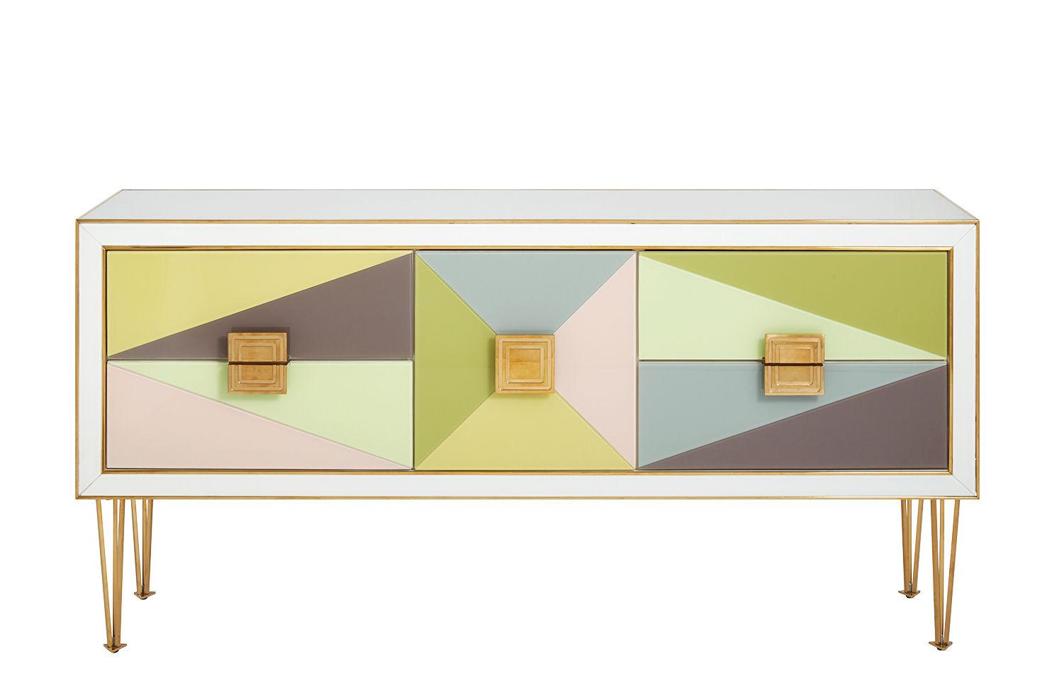 Mobilier - Commodes, buffets & armoires - Buffet Harlequin / L 150 cm - Verre - Jonathan Adler - Multicolore - Bois laqué, Laiton poli, Verre