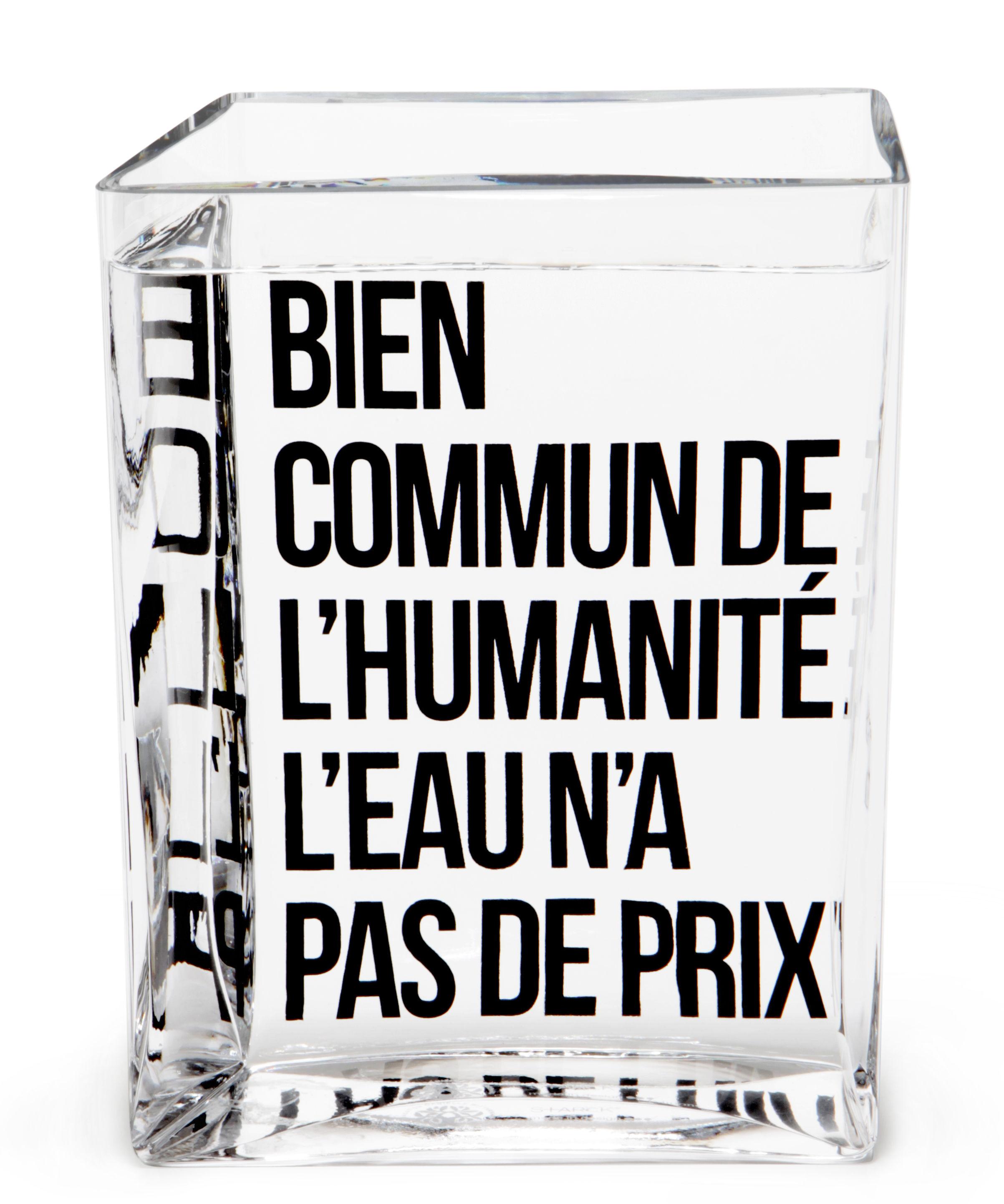 Arts de la table - Carafes et décanteurs - Carafe La Lame d'Eau by Philippe Starck / 50 cl - Made in design Editions - Transparent / Message noir - Verre