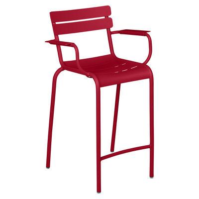 Chaise de bar Luxembourg Bridge / H 69,5 cm - Accoudoirs - Fermob rouge en métal