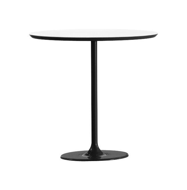 Möbel - Couchtische - Dizzie Couchtisch H 50 cm - Arper - Stempelfuß schwarz / Tischplatte weiß - Holzfaserplatte, lackierter Stahl